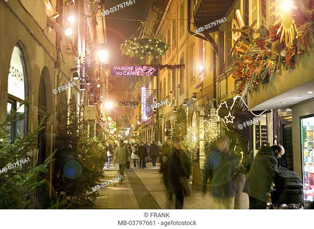 France, Alsace, Strasbourg, old town,  Alley, Christmas illumination,  Passer-bys, twilight, Europe, Département Bas-Rhin, city center, old town alley, sight