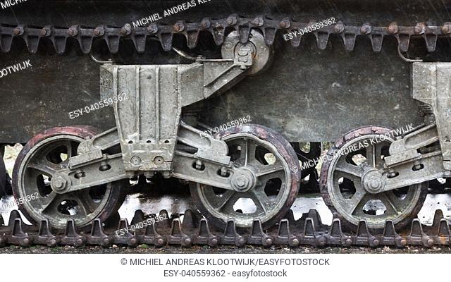 WW2 tank close-up, detail shot of an Allied vehicle