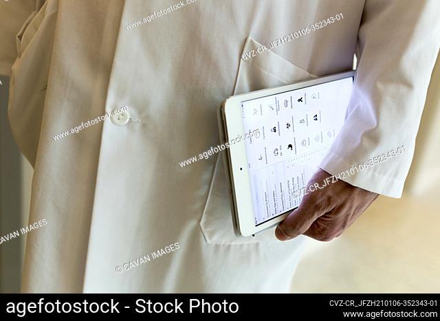 a tablet is used as a medical calculator