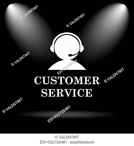 Customer service icon. Internet button on black background