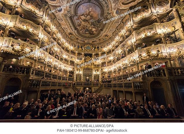 12 April 2018, Germany, Bayreuth: Inside the renovated opera house. The Markgraefliche Opernhaus (Margravial Opera House)