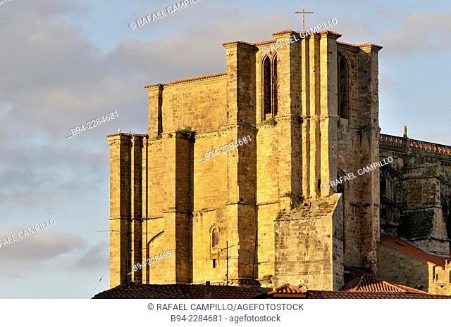 Gothic style church of Santa Maria de la Asunción, XIII century, declared a National Monument in 1931. Castro Urdiales, Cantabria, Spain