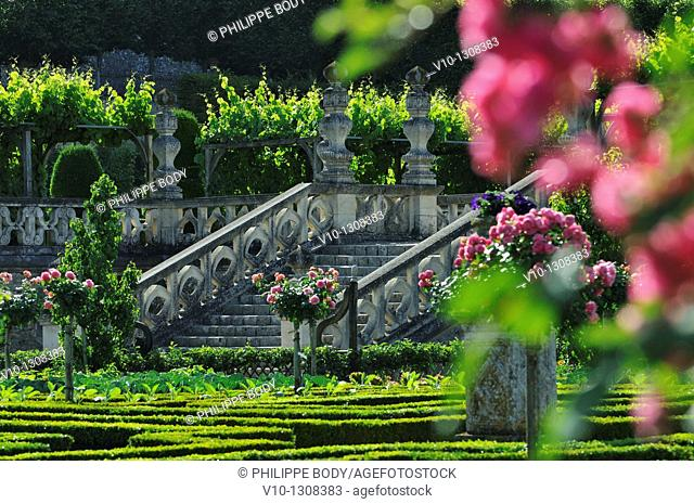 France, Indre et Loire, Loire Valley on the World Heritage list of UNESCO, castle and gardens of Villandry, built in XVI century, in Renaissance style
