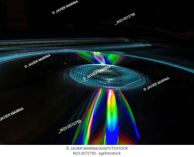 Reflections on the surface of a cd, Valencia, Spain