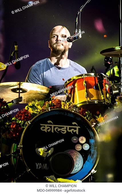 Musician Will Champion, drummer of Coldplay, in concert at San Siro Stadium during the Head Full of Dreams Tour. Milan, Italy. 3rd July 2017