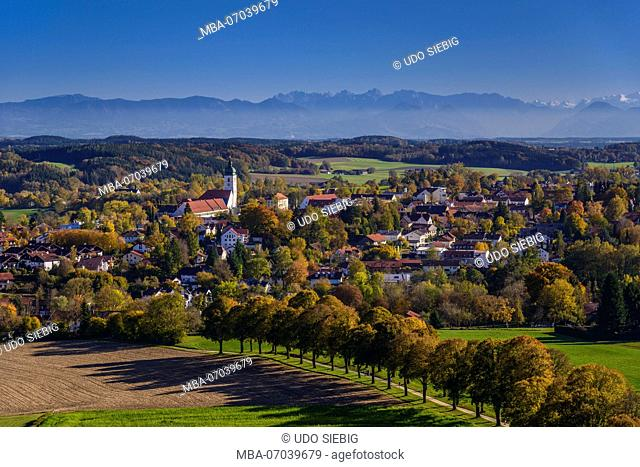 Germany, Bavaria, Upper Bavaria, Ebersberg, view to the town with panorama of the Alps, view from lookout tower of the Ludwigshöhe