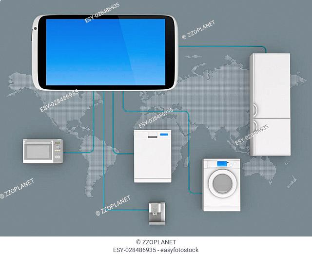 Internet of Things Concept - Home Appliances Connected To Smartphone
