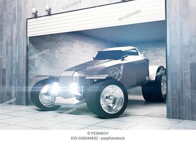 Modern garage with cool car. Transportation concept. 3D Rendering