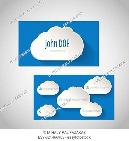 Modern business card with clouds