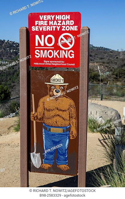 Smokey the Bear fire warning sign in Hollywood Hills, Los Angeles