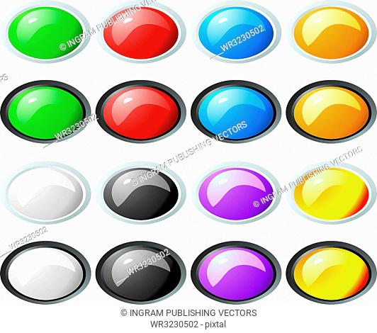Illustration of a collection of colored buttons with two bevel color variations