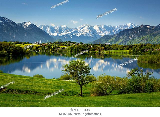 Germany, Bavaria, foothills of the Alps with lake Riegsee