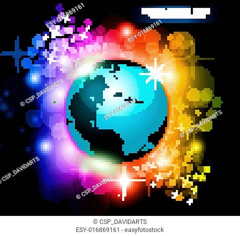 Abstract Rainbow Planet Background for Flyers