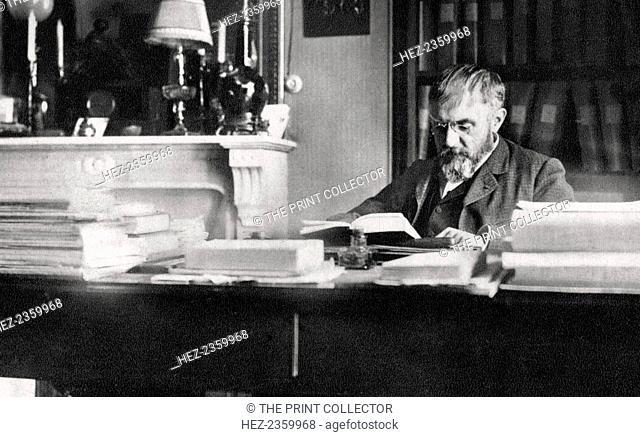 Rene Doumic, French literary critic and man of letters, 1922. A photograph from Album de Photographies dans L'Intimite de Personnages Illustres, 1855-1915