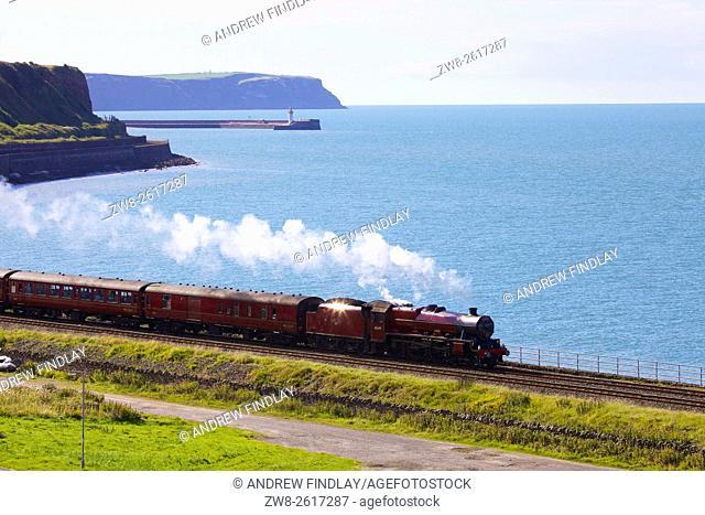 Steam locomotive LMS Jubilee Class 45699 Galatea. Tanyard Bay, Parton, Whitehaven, Cumbria, England, UK