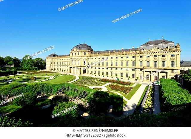 Germany, Bavaria, Upper Franconia Region, Wurzburg, Würzburg residence of the eighteenth century (Residenz), baroque style, listed as World Heritage by UNESCO