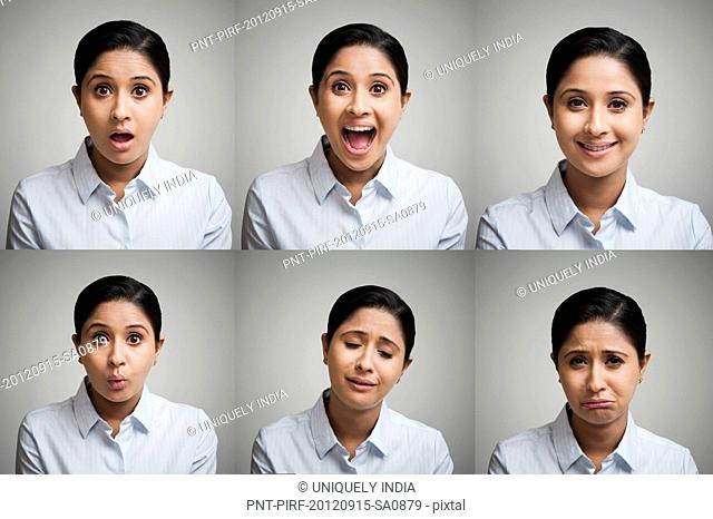 Multiple image of a businesswoman with different emotions