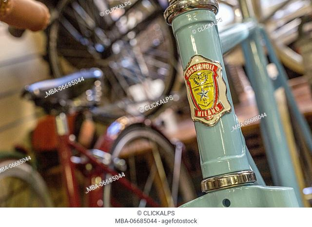 Details and mechanical parts in the Rossignoli bike shop an icon of Milan Lombardy Italy Europe