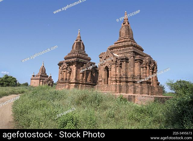 Myanmar: Bagan- General-View of group of minor temples close to Chatu mukha temple. circa 13th. Century A. D