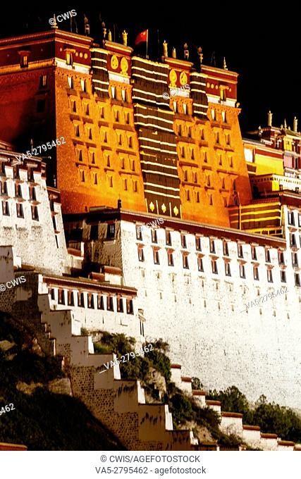 Lhasa, Tibet, China - The view of Potala Palace at night