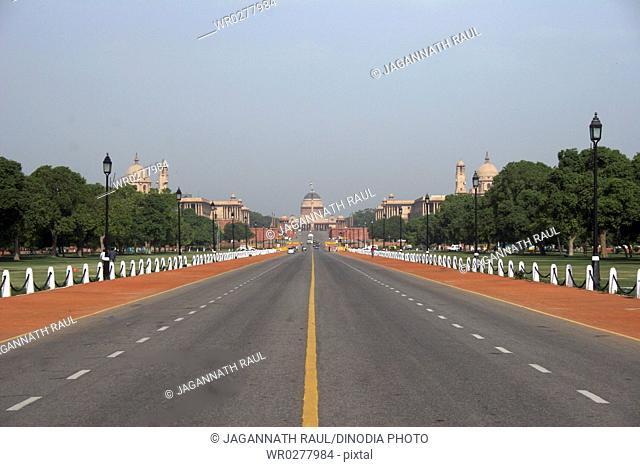 Rajpath road leading to Rashtrapati Bhavan , New Delhi , India