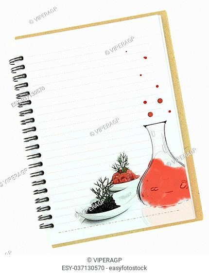 Molecular gastronomy painting on blank notebook page