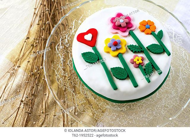 Birthday cake with sugar flowers