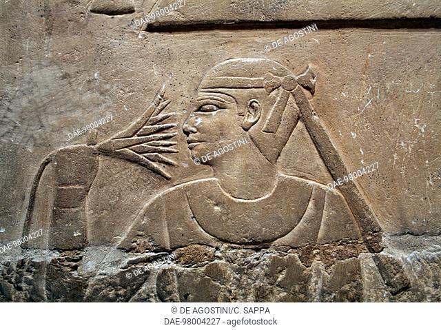 Painted relief, Mastaba of Mereruka, 2340 BC, Necropolis of Saqqara, Memphis (UNESCO World Heritage List, 1979), Egypt. Egyptian civilisation, Old Kingdom
