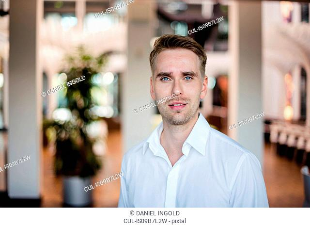 Portrait of confident mid adult businessman in office