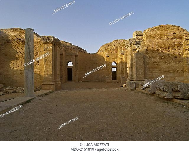 Umayyad Palace of Mshatta (Qasr al-Mshatta), 743, 8th Century A.D., stone building. Jordan, Amman. Whole artwork view. View of the central hall from the gate;...