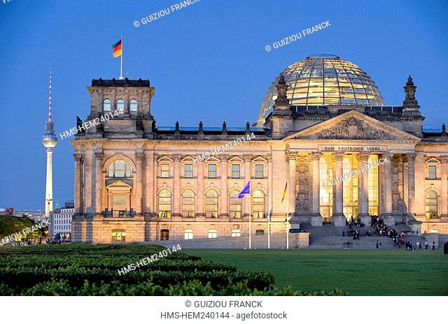 Germany, Berlin, the Reichstag, built by Bismarck in 1892 and rebuilt in 1961