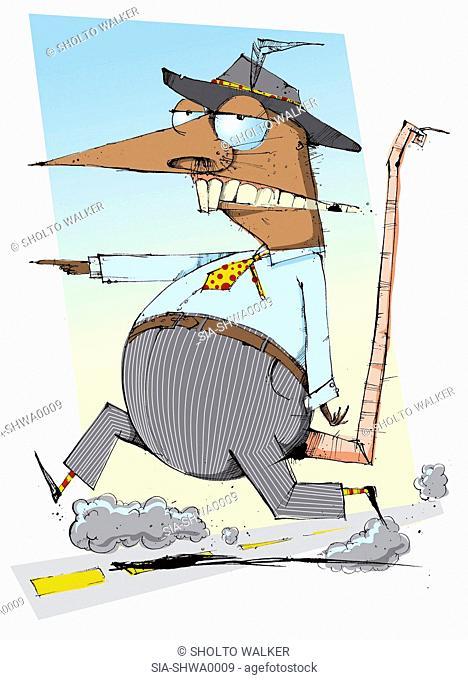 Anthropomorphic rat running along road