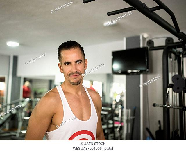 Portrait of smiling man in gym