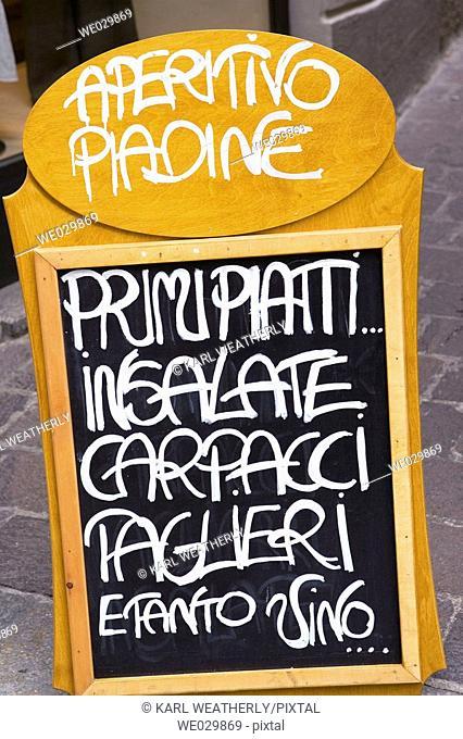 Menu board. Como, Italy