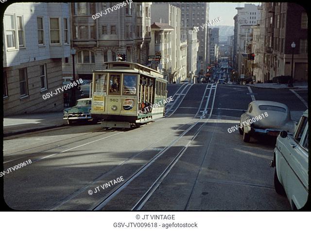 Street Scene with Cable Car, San Francisco, California, USA, 1957