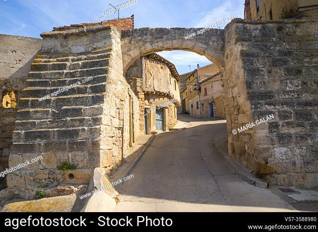 Medieval gate and street. Palenzuela, Palencia province, Castilla Leon, Spain