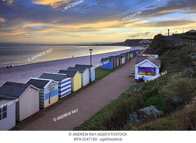 The sea front at Budleigh Salterton in South East Devon, captured from a high vantage point on an evening in early September