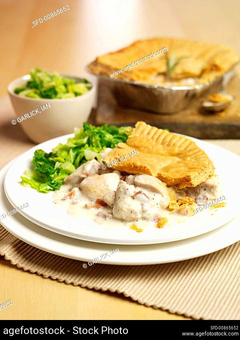 Chicken and pancetta pie with salad