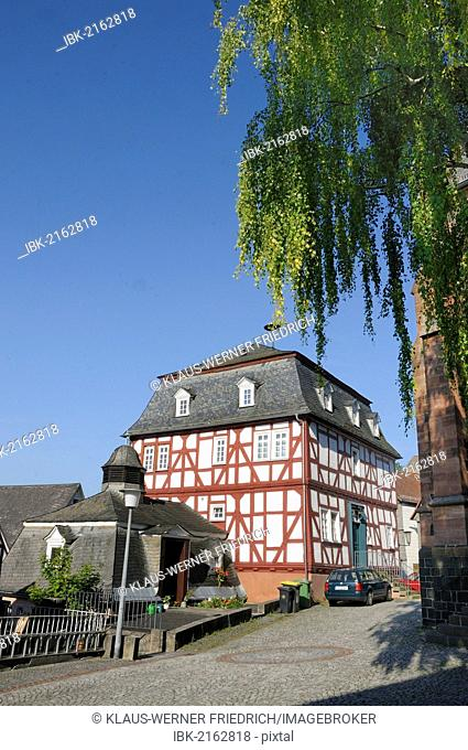 Oldest Town Hall and half-timbered building in the historic town centre of Biedenkopf, with the Wilden Mann or Hessenmann in the half-timbered building and the...
