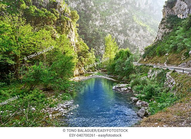 Deva river between mountains in Cantabria of Spain