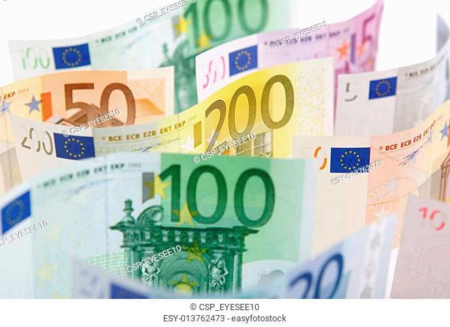 Range of Euro bank notes