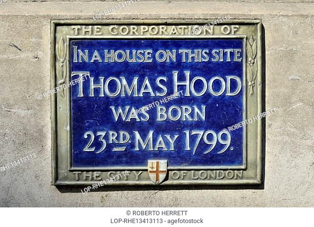 England, London, City of London. Blue plaque marking the birthplace of the humourist and poet Thomas Hood in Poultry