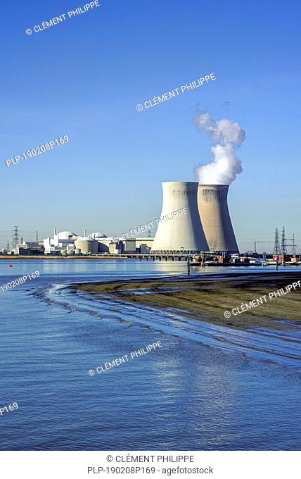 Doel Nuclear Power Station / nuclear power plant in the Antwerp harbour along the river Scheldt / Schelde, Flanders, Belgium