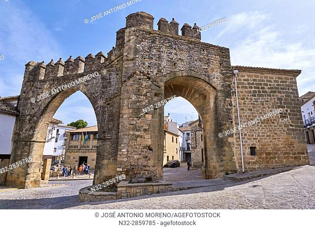 Jaen town gate, Populo square, Baeza. Jaen province, Andalucia, Spain