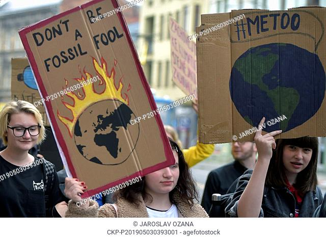 Students strike for better climate protection and emission lowering, in Brno, Czech Republic, on Friday, May 3, 2019. (CTK Photo/Jaroslav Ozana)