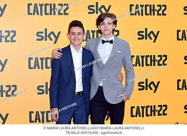 Giovanni Stocchino, Domenico Cuomo during the Red carpet for the Premiere of film tv Catch-22, Rome, ITALY-13-05-2019