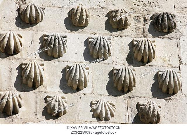 Shells from road to St Jacques de Compostella on the wall of the Basilica of San Isidoro, City center of Leon, Castile and Leon, Spain