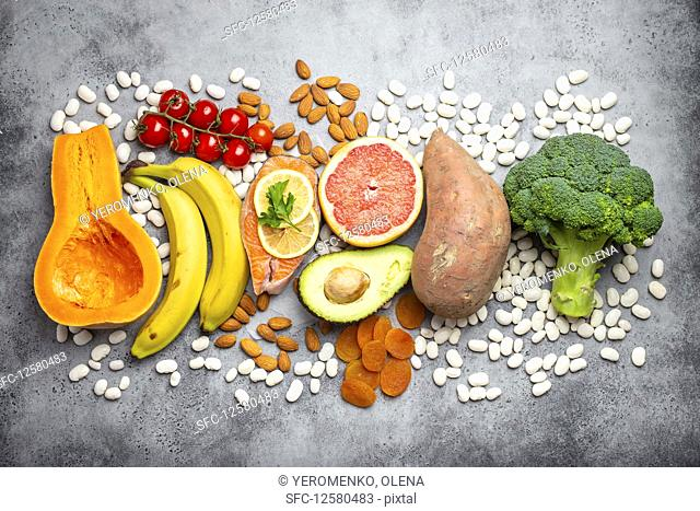 Vegetables, fruit and foods containing potassium, vitamins and micronutrients for healthy balanced diet