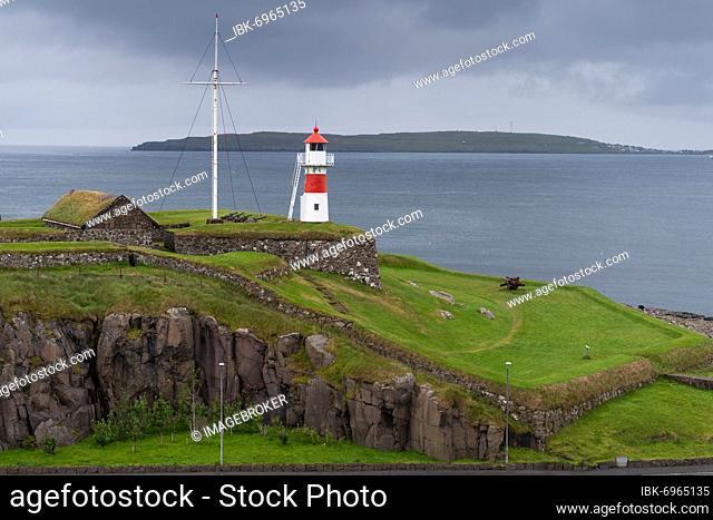 Skansin lighthouse, historic fortification, Tórshavn, Streymoy Island, Faroe Islands, Denmark, Europe