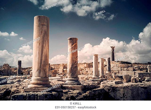 Pillars and ruins at Kourion archaeological site. Limassol District, Cyprus